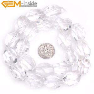 Natural Gemstone Freeform White Clear Quartz Stone Beads For Jewelry Making 15""