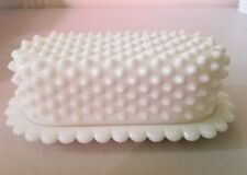 VINTAGE FENTON WHITE MILK GLASS  HOBNAIL BUTTER DISH WITH COVER