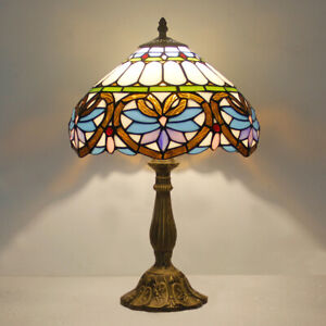 Tiffany Style Red Baroque Stained Glass 12 inch Shade Table Reading Lamp
