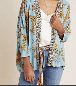 NWT Anthropologie Andersen & Lauth Zoe Leopard Floral Print Kimono One Size