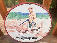 "Vintage Remington Firearms And Ammunition Heavy Porcelain Sign 12"""