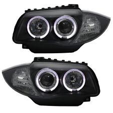 Scheinwerfer Klarglas Angel Eyes für BMW E81/E87 Bj. 2004-2011 Schwarz