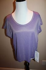 Lululemon Sweaty Or Not Crop Tee SIze 8 Heathered Iris Flower/Gold NWT sold out