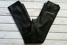 BB Dakota Black Leather Pants Straight Leg Zip Pockets - Size 5/6