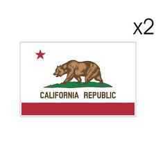 2 Stickers plastifiés DRAPEAU CALIFORNIE - California - USA - 5cm x 6,5cm