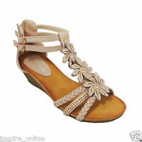 Women Ladies Summer Gladiator Wedge Sandal Strappy Diamante Flower Evening Shoes