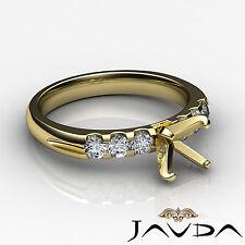 Round Diamond 6 Stone Wedding Ring 14k Yellow Gold Multi Shape Semi Mount 0.31Ct