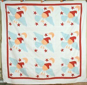 Folky 1910's PA Eagle, Stars & Moon Applique Antique Quilt Top ~AMAZING!