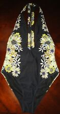 Black Deep Plunge Sunflower Floral Sides One Piece Swimsuit Size Medium New