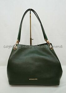 NWT Michael Kors 30H6GRXE3L Raven Large Leather Hobo/Shoulder Bag in Moss Green