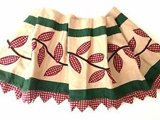 Set of 2 Country Primitive Pointed Valances JCP HOME Embroidered Cabin Rustic