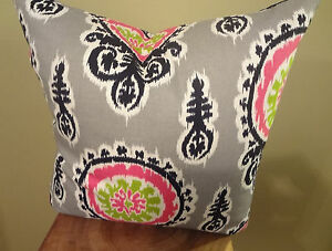 SALE Decorative Pillow Cover Grey Black Pink Green Off White Graphic Ikat