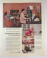 Vintage 1957 Before Cell Phones Land Line Rotary Bell Telephone 1950s 50s AD