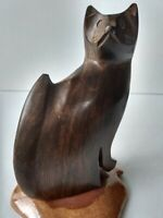 Vintage Hand Carved Wooden Cat Figurine Sculpture Folk Art Siamese