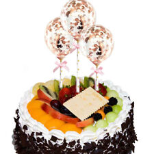 3x Rose Gold Confetti Balloons Cake Topper Birthday Party Wedding Decoration UK