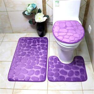 3PCS NEW BATHROOM SET SOFT COMFORT MEMORY FOAM BATH RUGS ANTI-SLIP SOLID COLOR