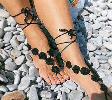 Fiore all'uncinetto, sandali a piedi nudi-Nero-Favori Nozze-handmade-Taglia unica-Beach