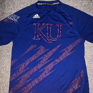 Kasas Jayhawks Adidas Mens M Shirt Short Sleeve  Big Graphic Logo Climalite Rare