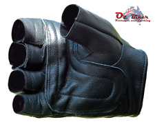 Fingerless Leather Motorcycle Gloves  - Oz Biker - LARGE