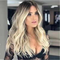 Brazilian 100% Real Human Hair Full Lace Wig Ombre Blonde Wavy Remy Fashion Wigs