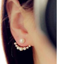 Pearl Ear Jacket Earrings Minimalist Fashion Jewelry Gift for Her Fan Shaped