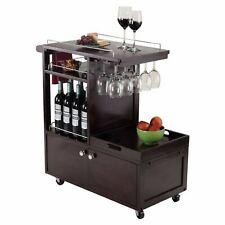 Espresso Finish Wooden Rolling Beverage Cart Serving Bar Glasses Wine Storage