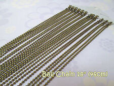 Antique Bronze Lobster Clasp Ball Chains Necklaces - 18 inches - 12pcs