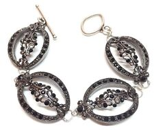"Costume White Metal & Silver Plate Bracelet w/ Black Stones - 7 3/4"" Long"