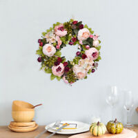 Artificial Peony Wreath Fake Flower Wall Hanging Floral Party Home Door Decor
