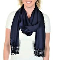 Tahari Large Soft Silky Viscose Shawl Wrap Scarf in Navy Blue