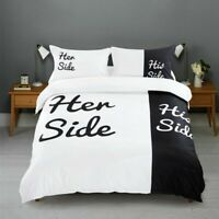 Her/His Side Doona Duvet Quilt Cover Set Double Queen King Size Bed Pillowcase
