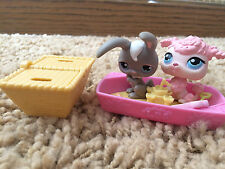 Littlest Pet Shop #14 Pink Poodle and Gray Bunny #48 Beach Party LPS lot sandbox