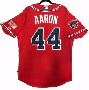 HANK AARON 48 XL ATLANTA BRAVES MAJESTIC COOL BASE JERSEY MADE IN THE USA