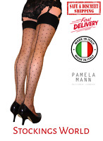 Seamed Stockings Black Polka Dots Black/Brown Jive Cuban Heel M/L