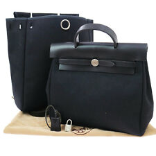 Auth HERMES Her Bag Ado PM 2 in 1 Backpack Hand Bag Black Toile Offcier F01880