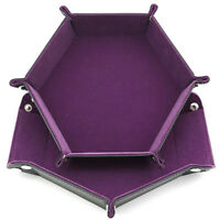 Dice PU Leather Folding Hexagon Tray With Purple Velvet Entertainment Games FM
