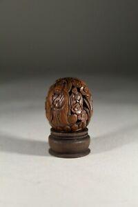 Vintage Chinese Wood Hediao Walnut & Fruit Nut Carving Buddha No:2