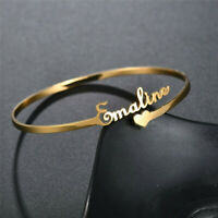 Personalized Custom Name Stainless Steel Cuff Bracelet Bangle Adjustable Gift