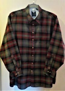 Harbor Bay Classics Maroon Black Gray Gold Plaid Flannel Shirt Size 3XLT RN58805