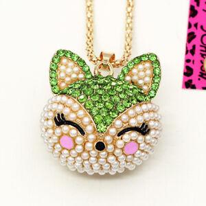 Betsey Johnson Full Pearl Crystal Cute Fox Head Pendant Chain Women's Necklace