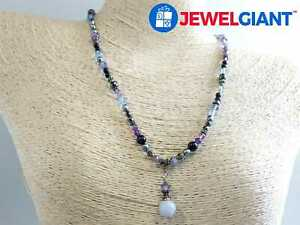 """STERLING SILVER NECKLACE 17"""" LAVENDER AGATE AMETHYST GOLDSTONE #cw713"""