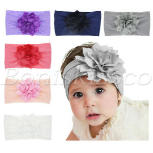 6pcs Newborn Baby Girl Headbands Toddlers Hats Lotus Flower Soft Nylon Headwraps