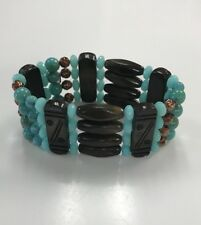 Cookie Lee Aqua Turquoise Brown Wooden Beads Tribal Stretch Bracelet