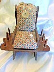 Vintage Rocking Chair Folk Art Sewing Pin Cushion & Spool & Holder