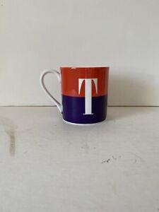 Kate Spade Lenox Whats in a Name T Monogram Red Purple Coffee Mug / Tea Cup 3.5