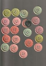 20Wooden  buttons craft  mixed gingham