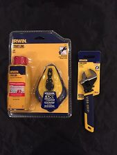 """Irwin chalk line , 4oz red chalk , and 6"""" vise-grip adjustable wrench"""
