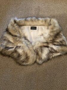 Womens Caracilia Tan Beige Cream Faux Fur Shawl Wrap