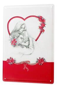 Tin Sign Retro Motif Love Couple of roses heart