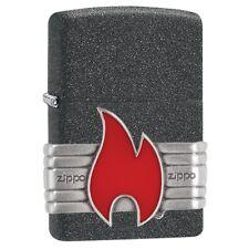 Zippo 29663, Flame, Emblem, Iron Stone Finish Lighter, Full Size